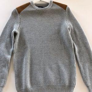 J. Crew men's sweater with suede shoulder pads